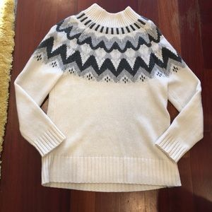 JCrew Mock Neck Cashmere Fair Isle Sweater